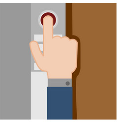 pressing button hand gesture graphic vector image