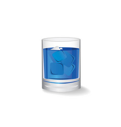pure water in glass with ice cube on white vector image