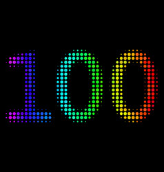rainbow colored dotted 100 text icon vector image