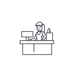 receptionist woman line icon sign vector image