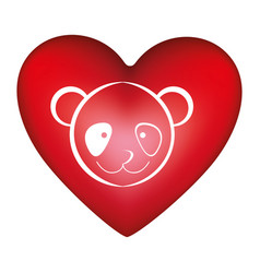 Red heart shape with silhouette face cute panda vector