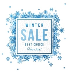 Sale banner with blue snowflakes vector image