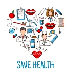 Save Health symbol with heart of medical sketches vector
