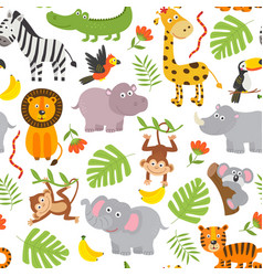 Seamless pattern jungle animals vector