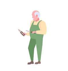 senior master or repairman holding screwdriver and vector image