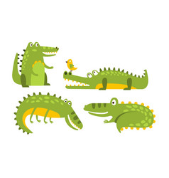 set cartoon green crocodiles vector image