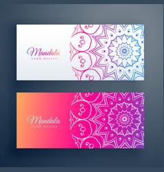 set colorful mandala banners vector image