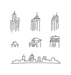 set drawn pencil city and house line vector image