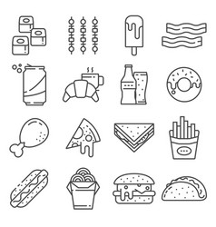 Set fast food line icons vector
