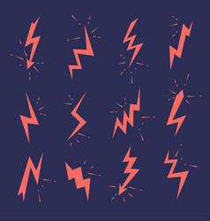 set lightning bolts icons thunderbolts vector image