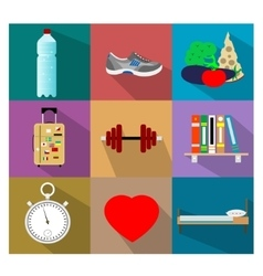 Set of flat healty life style concept icons vector