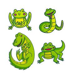 Set of green cartoon reptiles vector
