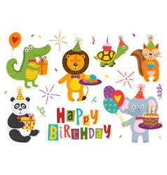 set of isolated funny animals happy birthday vector image