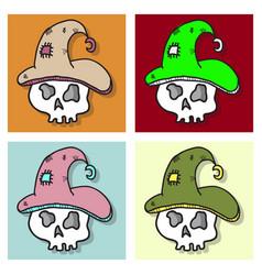 Set of of a halloween skull vector