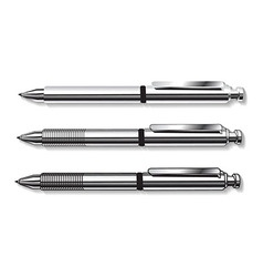Set of pens in gray tones isolated on white vector image