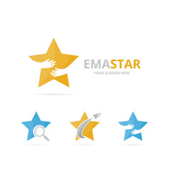 Set of star logo combination leader and embrace vector