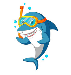 shark with diving equipment vector image