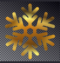 shine golden snowflake isolated on transparent bac vector image