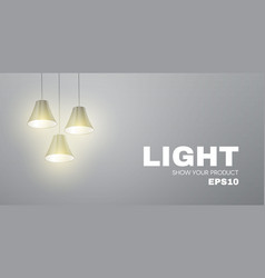 shining lamps minimal showcase and empry scene vector image