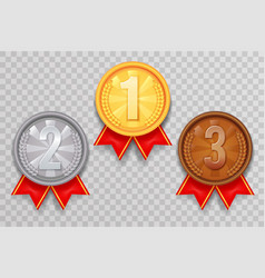 shiny gold silver bronze winner leader award vector image