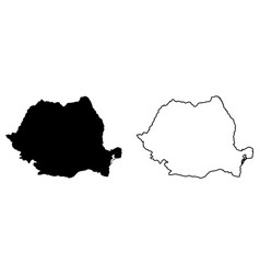 Simple only sharp corners map romania drawing vector