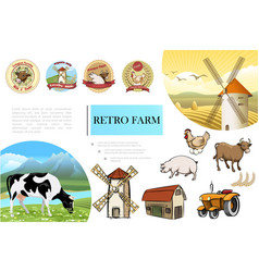 sketch retro farm composition vector image
