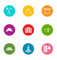 street construction icons set flat style vector image