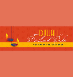 Stylish diwali festival sale and discount banner vector