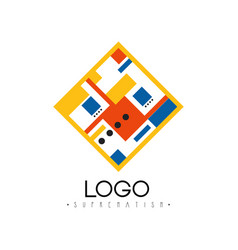 Suprematism logo abstract geometric design vector