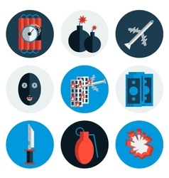 Terrorism flat icons vector image