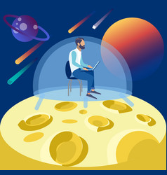 the programmer works on moon seclusion in vector image