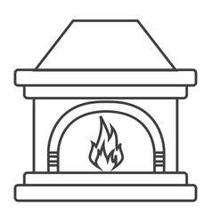 thin line fireplace icon vector image