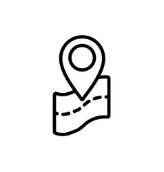 thin line google map pin point location icon vector image