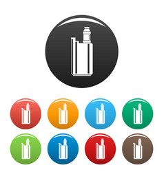 Vape box icons set color vector