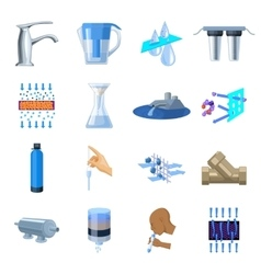 Water filtration system set icons in cartoon style vector image