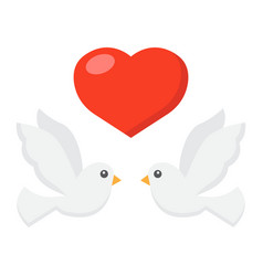 Wedding doves with heart flat icon valentines day vector