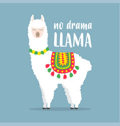 white llama with lettering no drama llama vector image