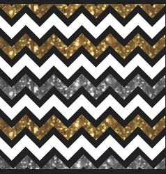 White zigzag pattern with glittery gold and silver vector