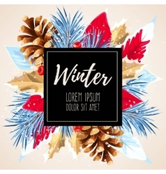Winter card with poincettia vector