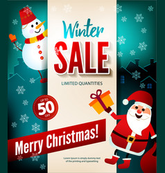 winter sale up to 50 percent christmas poster vector image