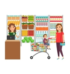 Woman shopping in grocery store vector
