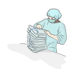 Worker in ppe suit arranging textile product vector