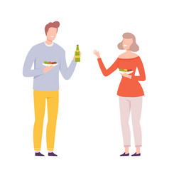 young man and woman eating food and drinking at vector image