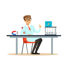 young physicist sitting behind the desk with hand vector image