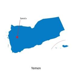 Detailed map of Yemen and capital city Sanaa vector image vector image