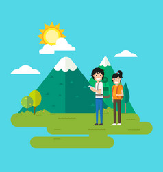 woman and man walking in the forest vector image