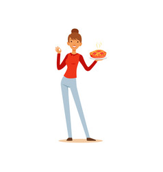 young woman holding freshly baked pie and showing vector image