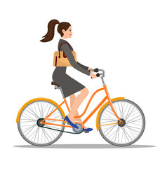 beautiful woman in dress rides a bicycle vector image vector image
