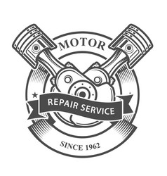 Engine pistons on crankshaft - auto repair servic vector