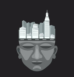 Flat design of city on a mans head vector image vector image